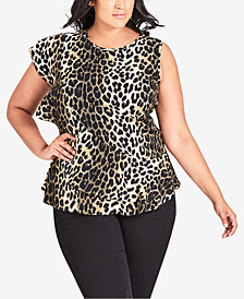 City Chic Trendy Plus Size Animal-Print Ruffle Top