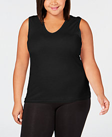 Cuddl Duds Plus Size Softwear Lace-Trim Tank Top