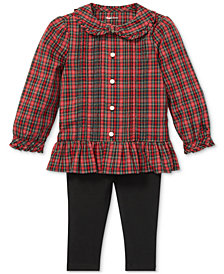 Polo Ralph Lauren Baby Girls Plaid Top & Pants Set