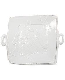 Vietri Lastra Winterland Stoneware Santa Square Platter