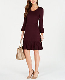 Nine West Ruffled Bell-Sleeve Sweater Dress