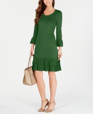 1920s Day Dresses, Tea Dresses, Mature Dresses with Sleeves Nine West Ruffled Bell-Sleeve Sweater Dress $70.99 AT vintagedancer.com