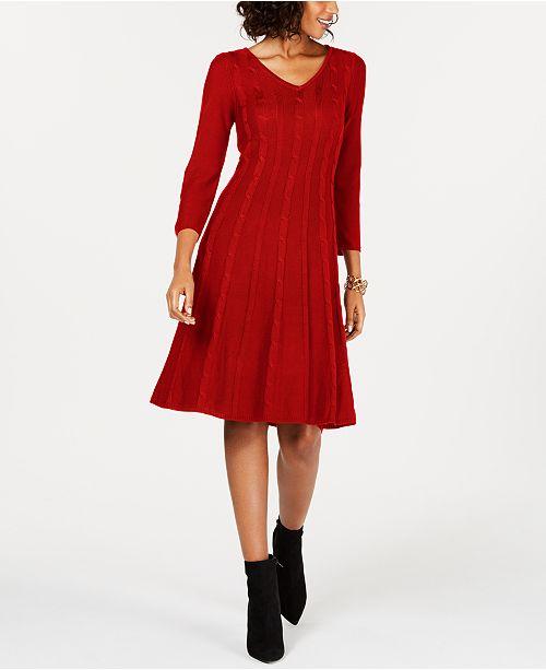 ac00cc1748a Nine West Cable-Knit Sweater Dress   Reviews - Dresses - Women - Macy s