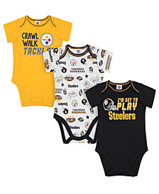 Gerber Childrenswear Pittsburgh Steelers 3 Pack Creeper Set, Infants (0-9 Months)