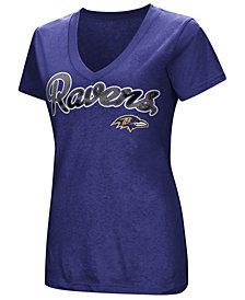 G-III Sports Women's Baltimore Ravens Tailspin Script Foil T-Shirt