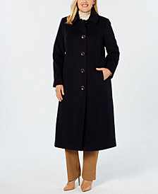 Anne Klein Plus Size Club-Collar Maxi Coat