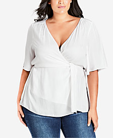 City Chic Trendy Plus Size Simply Knot Blouson Top