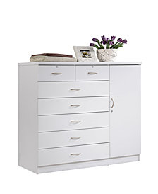 Hodedah  7-Drawer Chest with Locks on 2-Top Drawers plus 1-Door with 3-Shelves in White
