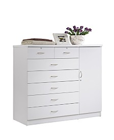 7-Drawer Chest with Locks on 2-Top Drawers plus 1-Door with 3-Shelves