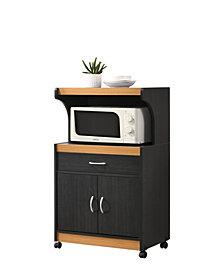 Microwave Kitchen Cart in Black-Beech