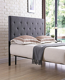 Queen-Size Upholstered Tufted Rectangular Headboard in Grey