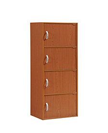 4-Shelf, 4-Door Bookcase in Cherry