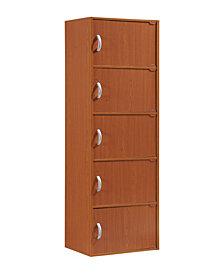 5-Shelf, 5-Door Bookcase in Cherry