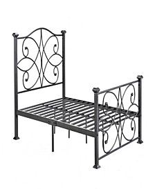 Complete Metal Queen-Size Bed with Headboard, Footboard, Slats and Rails