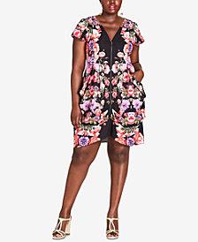 City Chic Trendy Plus Size Drape-Pocket Dress
