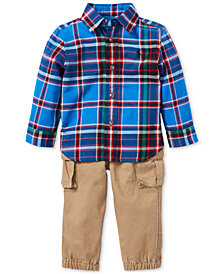 Polo Ralph Lauren Baby Boys Cotton Plaid Shirt & Pants Set
