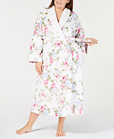 Charter Club Plus Size Long Floral-Print Wrap Robe, Created for Macy's