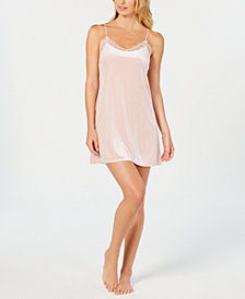 I.N.C. Lace-Trim Velvet Chemise, Created for Macy's