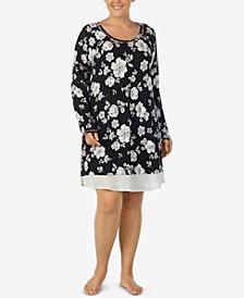 Layla Plus Size Printed Solid-Hem Sleepshirt