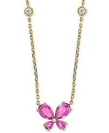"""EFFY® Pink Sapphire (1-1/2 ct. t.w.) & Diamond (1/10 ct. t.w.) Butterfly 18"""" Pendant Necklace in 14k Gold"""