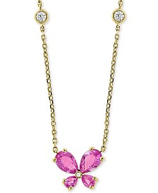 "EFFY® Pink Sapphire (1-1/2 ct. t.w.) & Diamond (1/10 ct. t.w.) Butterfly 18"" Pendant Necklace in 14k Gold"