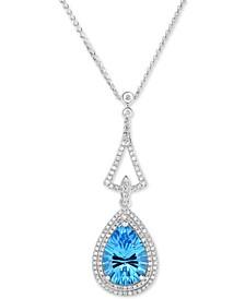 "Blue Topaz (4-1/4 ct. t.w.) & Diamond (3/8 ct. t.w.) 18"" Pendant Necklace in 14k White Gold"