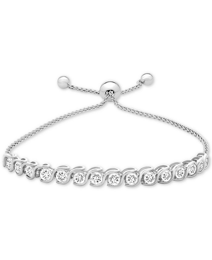 Macy's - Lab-Created White Sapphire Bolo Bracelet (3-7/8 ct. t.w.) in Sterling Silver
