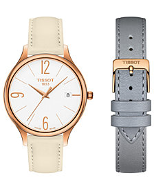 Tissot Women's Swiss T-Lady Bella Ora Interchangeable Beige & Gray Leather Strap Watch 38mm
