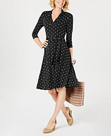 Charter Club Petite Dot-Print Belted Swing Dress, Created for Macy's
