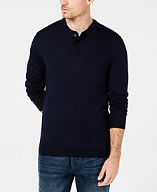 Club Room Men's Merino Henley, Created for Macy's