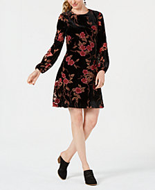 Jessica Howard Petite Velvet Floral A-Line Dress