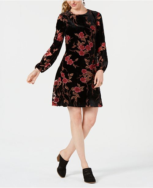 462d6490053 Jessica Howard Petite Velvet Floral A-Line Dress   Reviews - Dresses ...