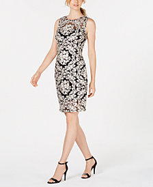 Calvin Klein Embroidered Lace Sheath Dress
