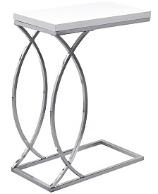 Monarch Specialties Chrome Metal Edgeside  Accent Table in Glossy White