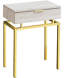 "Monarch Specialties Gold Metal 24""H Side  Accent Table in Beige Marble"