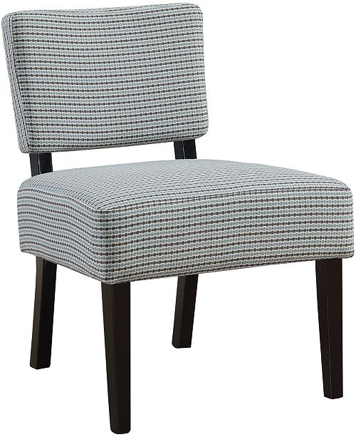 Monarch Specialties Abstract Dot Fabric Accent Chair in Light Blue