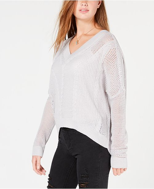Ultra Flirt By Ikeddi Juniors Pointelle Cable Knit Sweater