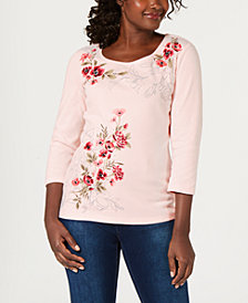 Karen Scott Floral-Embroidered Top, Created for Macy's
