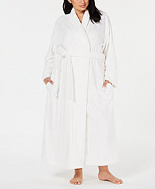 Charter Club Plus Size Long Textured Wrap Robe, Created for Macy's