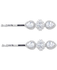 Marchesa Silver-Tone 2-Pc. Set Crystal Teardrop Cluster Hair Pins