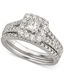 Diamond Princess Halo Bridal Set (1-1/5 ct. t.w.) in 14k White Gold
