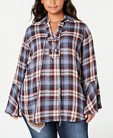 Seven7 Trendy Plus Size Plaid Tunic