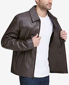 Men's Full-Zip Leather Bomber Jacket