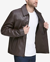 9e58be690b Cole Haan Men s Full-Zip Leather Bomber Jacket