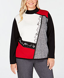Alfred Dunner Plus Size Embellished Colorblocked Sweater