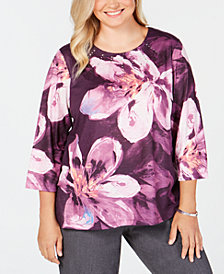 Alfred Dunner Plus Size Victoria Falls Embellished Floral-Print Top