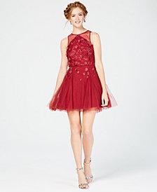 Teeze Me Juniors' Floral-Appliqué Fit & Flare Dress