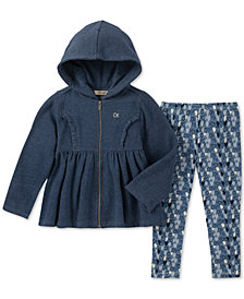 Calvin Klein Baby Girls 2-Pc. Full-Zip Hooded Jacket & Leggings Set
