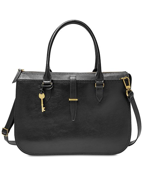 b85cfe0a3343 Fossil Ryder Leather Work Bag Satchel - Handbags   Accessories - Macy s