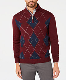 Club Room Men's Quarter-Zip Argyle Sweater, Created for Macy's